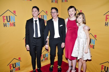 """Will the real Alison Bechdel please stand up? From left: Beth Malone (as Alison Bechdel, all grown up), author Alison Bechdel, Emily Skaggs (Medium Alison) and Sydney Lucas (Small Alison) celebrate the Broadway opening of """"Fun Home,"""" the musical based upon Bechdel's 2006 graphic novel."""