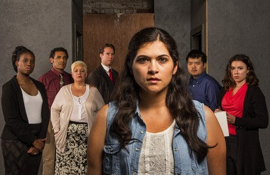 From left: Cast members Andrea Belser, Alejandro Rivera, Blanca Salva, Stuart Hoffman, Tania Benites (center), Arthur Chu and Courtney Brown. Chu plays multiple roles, including Gus Chan, the Plain Dealer photographer who worked alongside reporter Rachel Dissell to chronicle Orozco's inspirational journey.