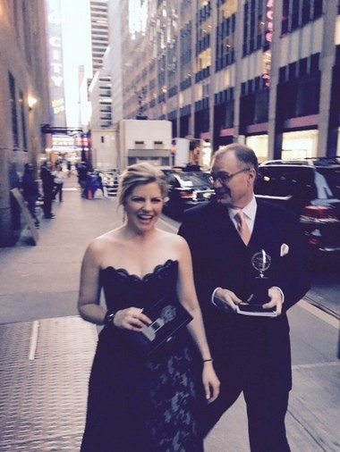 CPH brass Laura Kepley and Kevin Moore take a victory lap outside New York's Radio City Music Hall after scoring the 2015 regional Tony Award.
