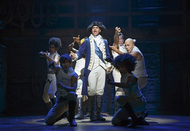 "Christopher Jackson as George Washington in ""Hamilton"" at the Richard Rodgers Theatre."