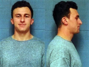 Johnny Manziel in his May 4, 2016 booking mugshot.