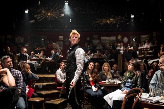 Lucas Steele, as Anatole, the lothario out to seduce the impressionable Natasha in 'Natasha, Pierre & The Great Comet of 1812' in the Off-Broadway production at the Kazino.