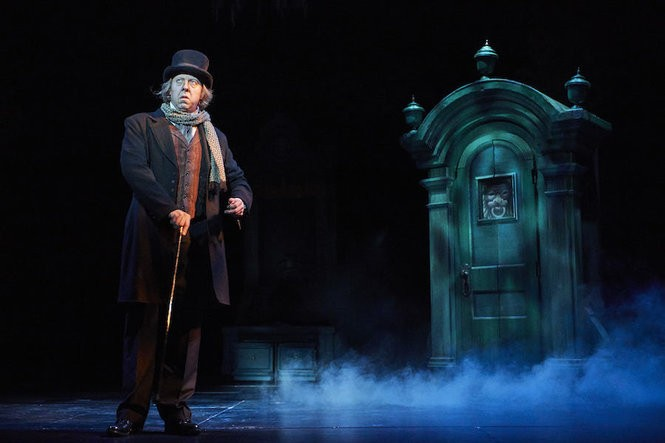 "Lynn Robert Berg is Scrooge in Great Lakes Theater's ""A Christmas Carol. (Photo by Roger Mastroianni)"