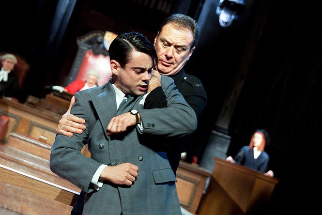 "Jack McMullen (as defendant Leonard Vole) in Lucy Bailey's production of ""'Witness for the Prosecution"" staged at London County Hall. (Photo by Shelia Burnett)"