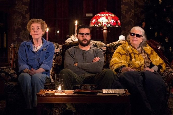 """Strange Bed-And-Breakfast fellows. From left, Georgia Engel, Christopher Abbott and Lois Smith in the 2015 Signature Theatre production of Annie Baker's """"John."""" (Matthew Murphy)"""