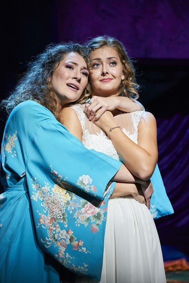 """Donna (Jillian Kates) and Sophie (Kailey Boyle) share a quiet moment in Great Lakes Theater production of """"Mamma Mia!"""" at the Hanna Theatre in Playhouse Square."""