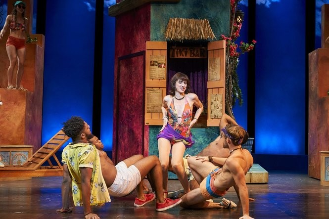 """Tanya (Jodi Dominick) gyrates with Pepper (Warren Egypt Franklin, front left), Eddie (Mack Shirilla, front right) and the boys in """"Does Your Mother Know?"""""""