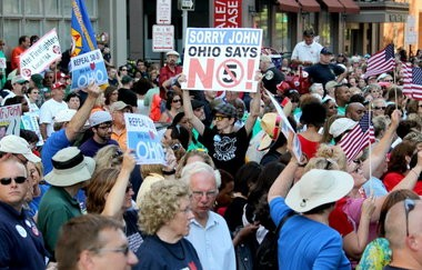 Several thousand people marched downtown Columbus in opposition to Senate Bill 5, which would have limited the collective-bargaining power of public-employee unions.