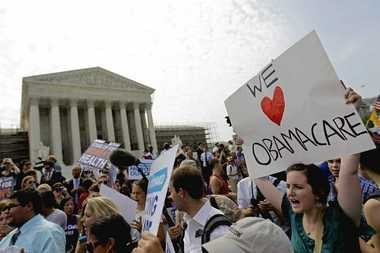 Supporters of Obamacare celebrate on June 28, 2012, outside the U.S. Supreme Court after justices upheld the Affordable Care Act.