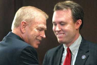 Former Ohio Gov. Ted Strickland and Cuyahoga County Executive Ed FitzGerald share a moment in 2011.
