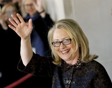 Hillary Clinton waves as she leaves the State Department in Washington earlier this month, on her last day as U.S. secretary of the state. The former first lady and U.S. senator already has supporters hoping she'll run for president again in 2016.