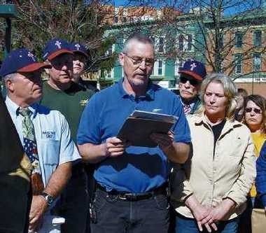 In this photo from April 2008, John Freshwater, center, addresses a crowd on Mount Vernon's public square. The Ohio Supreme Court on Tuesday upheld the firing of the public school science teacher who was accused of preaching religious beliefs in class.