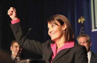 Lt. Gov. Mary Taylor, seen here celebrating her election in 2010, holds a cabinet-level post in the Kasich administration, much like several of her predecessors.