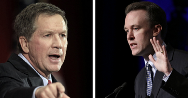 Ohio Gov. John Kasich, left, and Cuyahoga County Executive Ed FitzGerald, his likely Democratic opponent in 2014, each had support from 41 percent of the respondents in a poll of Ohio voters the Democratic Party released Tuesday.