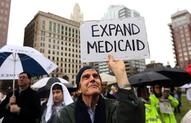 A broad coalition supporting Medicaid expansion rallied outside the statehouse in April. The effort had the support of small businesses, hospitals, physicians, veteran organizations and advocates for the poor and the mentally ill. Expanded coverage kicks in on Wednesday.