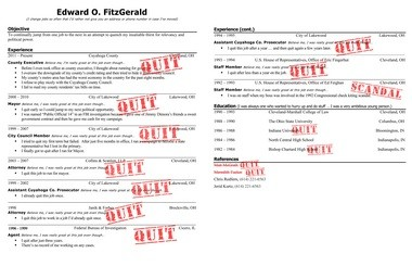 The fake Ed FitzGerald resume whipped up by Gov. John Kasich's allies.