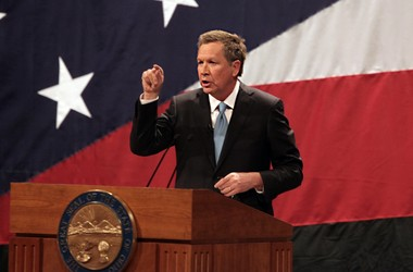 Gov. John Kasich delivers his State of the State speech Monday at the Medina Performing Arts Center.