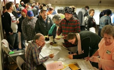 Voting lines in November 2004 at Tremont Elementary School in Cleveland. The Ohio Voter Bill of Rights amendment aims to protect early in-person voting procedures put in place after the 2004 election and allow online voter registration by writing them into the Ohio Constitution.