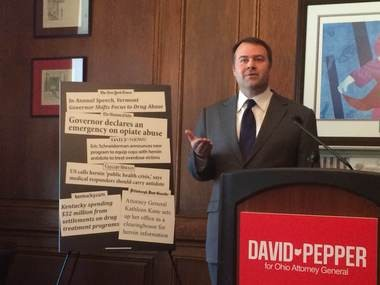Cincinnati attorney David Pepper, a Democrat running for Ohio Attorney General, said Tuesday other states' attorney generals are doing more than Ohio's Mike DeWine to battle heroin addiction and deaths.