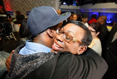 Senator Nina Turner hugs a supporter after losing her bid for Ohio Secretary of State on election night at Vada Restaurant and Lounge in Cleveland on Nov. 4, 2014. Turner lost to incumbent Jon Husted. (Lisa DeJong/The Plain Dealer)