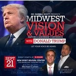 A flier advertising a Donald Trump appearance this Wednesday at a local Trump supporter's Cleveland Heights church