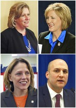 FILE - This combination of file photos shows Ohio's four announced Democratic candidates campaigning to succeed Republican Gov. John Kasich including Dayton, Ohio, Mayor Nan Whaley, top left, on April 1, 2015, in Dayton, Ohio; then-U.S. Rep. Betty Sutton, top right, on Oct. 18, 2012, in Parma, Ohio; then-Ohio state Rep. Connie Pillich, bottom left, on Oct. 7, 2014, in Cincinnati; and Ohio state Sen. Joe Schiavoni, bottom right, on Feb. 11, 2016, in Columbus, Ohio. The four current Democratic candidates will stage their first debate in the race for their party's 2018 nomination for governor on Sept. 12, 2017, at Martins Ferry High School in eastern Ohio, Ohio Democratic Party Chairman David Pepper said Monday, Aug. 14, 2017. (AP Photos, File)