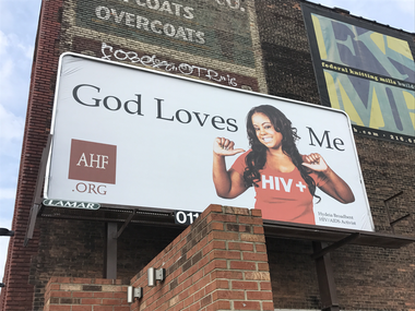 A billboard on Detroit Avenue promoting the AIDS Healthcare Foundation, which partners with the AIDS Task Force of Greater Cleveland to provided treatment and prevention in Northeast Ohio.