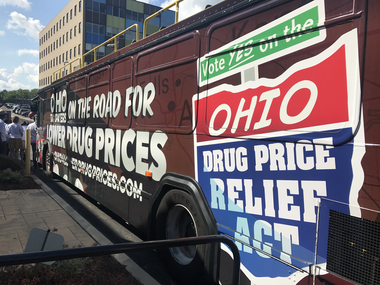 A campaign bus for Issue 2, the ballot initiative to cap what the state of Ohio pays for drug prices, during a campaign rally in Cleveland on Aug. 23, 2017.