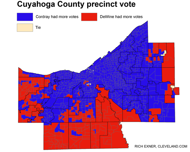 This precinct map shows where Republican Mike DeWine or Democrat Richard Cordray received the most votes in their separate gubernatorial primaries.