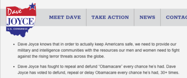A screenshot of an archived version of U.S. Rep. Dave Joyce's website. In it, he touts his 30-plus votes to repeal Obamacare