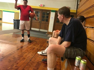 Richard Cordray, the Democratic candidate for governor, sits after a basketball session in Lorain, Ohio, the night before Labor Day.