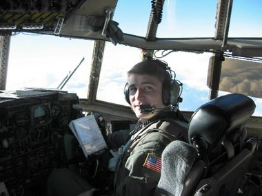 Former U.S. Rep. John Boccieri piloting a a C-130 over Kosovo during Operation Enduring Freedom in February 2003.