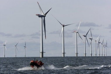 Lake Erie wind developers say they will have the first wind turbine pilot project built by 2017. They will be similar to these offshore wind turbines in the North Sea, offshore from a village in Denmark.