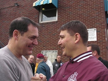 Former Democratic congressmen Zack Space of Dover - who lost his 2010 re-election battle to Republican Bob Gibbs of Holmes County - greets former Democratic congressman John Boccieri of Alliance at a 2010 steelworkers' rally in Canton. Boccieri has filed Federal Election Commission paperwork to challenge Gibbs in 2014.