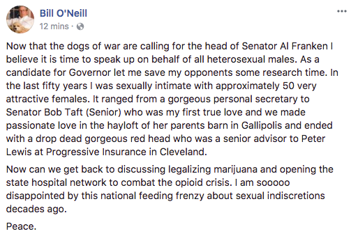 Ohio Supreme Court Justice Bill O'Neill's original Facebook post about his sexual escapades. O'Neill later edited this version.