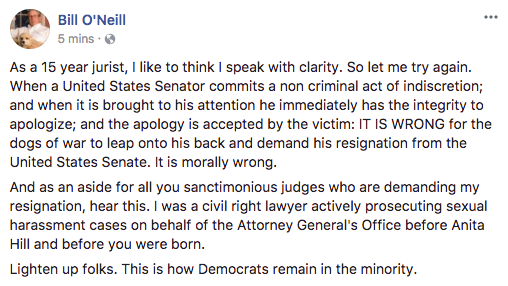 "A post from Ohio Supreme Court Justice Bill O'Neill's Facebook telling earlier detractors of another sexually-charged post to ""lighten up."""