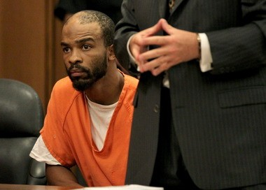 Michael Madison, accused in the East Cleveland murders of three women, Shetisha Sheeley, Angela Deskins, and Shirellda Terry, at a pretrial hearing Aug. 6 in Cuyahoga County Common Pleas Court. Madison has pleaded not guilty in the murders.
