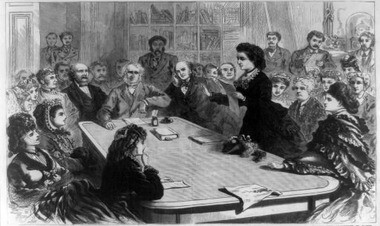 An illustration showing future presidential contender Victoria Woodhull leading a group of female suffragists before the Judiciary Committee of the House of Representatives Jan. 11, 1871, reading her argument in favor of women's voting rights based on the 14th and 15th Amendments.