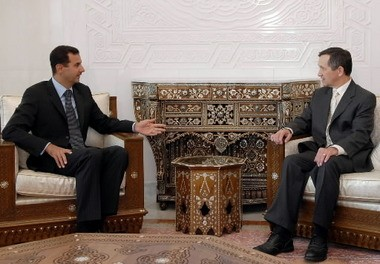 Syrian President Bashar Assad, left, meets with Ohio congressman and Democratic presidential candidate Dennis Kucinich in Damascus Sept. 2, 2007.