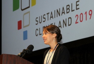 Cleveland's chief sustainability officer, Jenita McGowan, welcomed more than 500 attendees to the city's fifth annual sustainability summit at Cleveland Public Auditorium.
