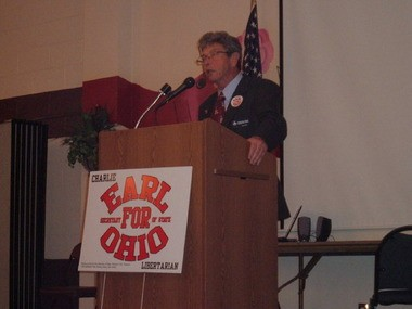 Libertarian Party candidate Charlie Earl is running for governor of Ohio in 2014. In this undated photo from 2010, he speaks at an event while campaigning for Ohio secretary of state. A federal judge in Columbus just blocked a GOP-backed bill that would have made it harder for third-party candidates like Earl to get on the Ohio ballot this year.