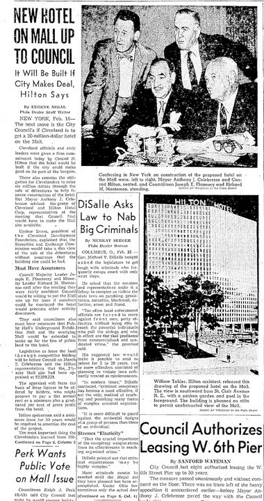 """The current plans for a $260 million, 27-story, 600-room Hilton hotel overlooking the city's """"medical mart"""" is similar to the """"Hilton Hotel on the Mall"""" initiative that failed 55 years ago."""