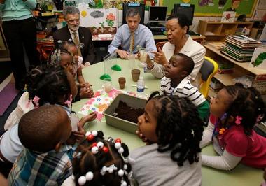 U.S. Education Secretary Arne Duncan and Cleveland Mayor Frank Gordon visit preschool at Anton Grdina school in Cleveland.