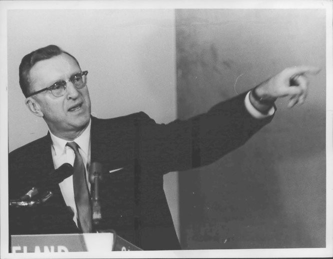 Ralph Locher at the City Club in 1965 as he sought -- and won -- re-election as Cleveland mayor despite a strong challenge from Carl Stokes. Stokes was elected mayor two years later.