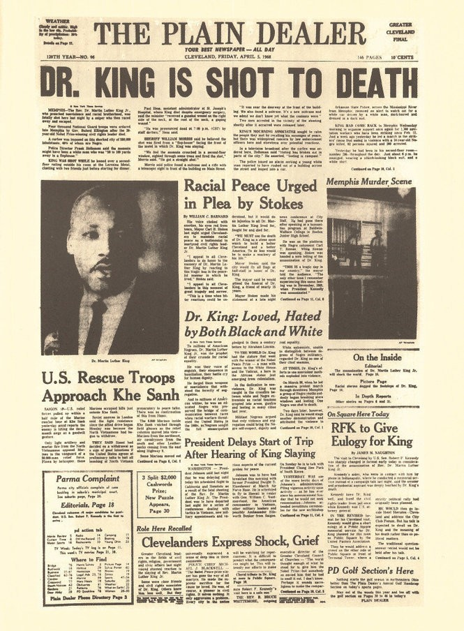 The front page of the April 5, 1968 Plain Dealer after Martin Luther King Jr. was assassinated reports Sen. Robert F. Kennedy would eulogize King in Cleveland.