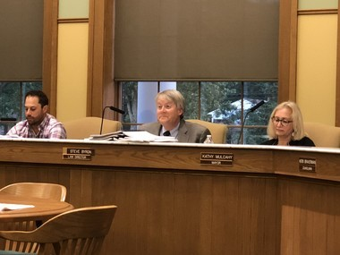 (Left to right) Orange Village Council President Brandon Duber, Law Director Steve Byron and Mayor Kathy Mulcahy at an Aug. 7 Village Council meeting.