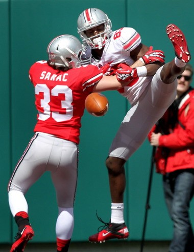 Michael Thomas couldn't haul in this pass Saturday, but he had seven catches in the spring game. He still has to show it in the fall, though.