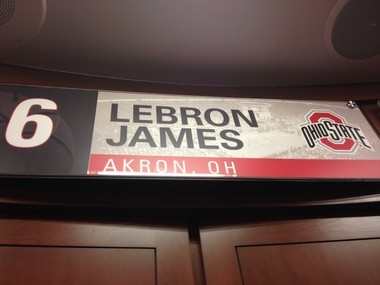 Remember this? The LeBron James locker in the new Ohio State basketball locker room.