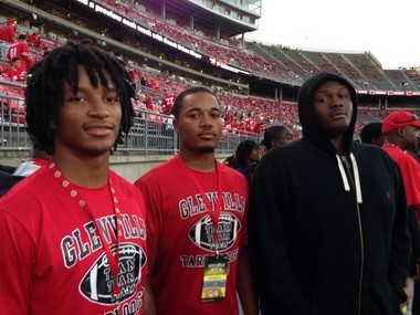 Glenville seniors Erick Smith (left), Marshon Lattimore (center) and Marcelys Jones (right) visited Ohio State for the Wisconsin game and plan to be at Alabama for the LSU game in November.