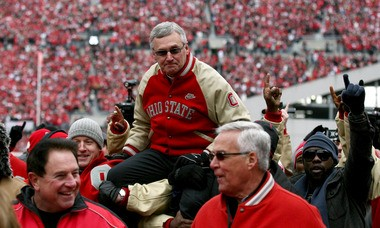 Jim Tressel returned to Ohio Stadium for the first time since his 2011 resignation for the Michigan game in 2012, and he was lifted onto the shoulders of his players when the 2002 team was honored on its 10-year anniversary.